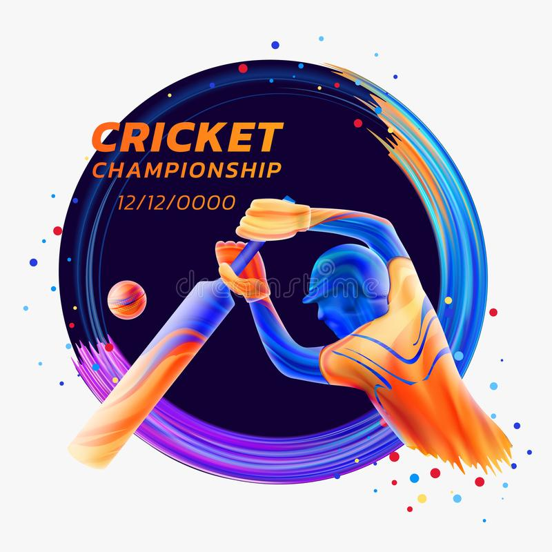 Vector abstract illustration of batsman playing cricket from colored liquid splashes and brush strokes with colored dots vector illustration