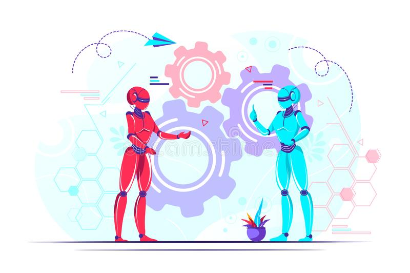 Modern nano technology. Vector abstract illustration, futuristic cyberpunk design, cyborgs work on surrealistic project, modern nano technology stock illustration