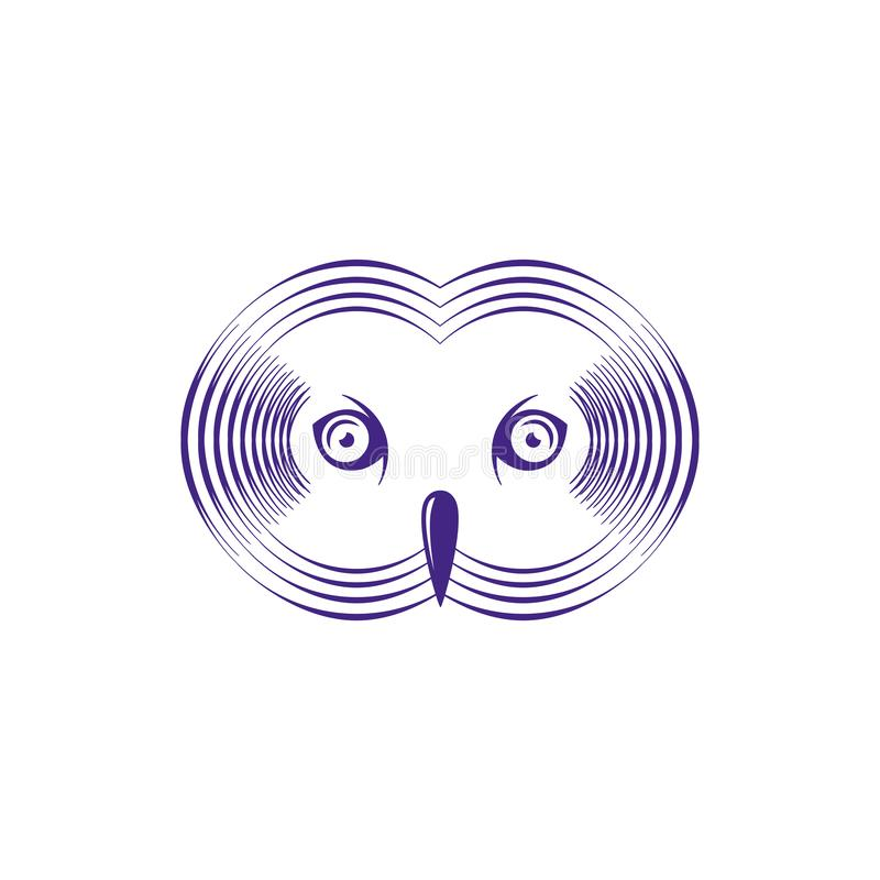 Vector Abstract Illustration of an Owl Head with Moire Pattern Effect royalty free illustration