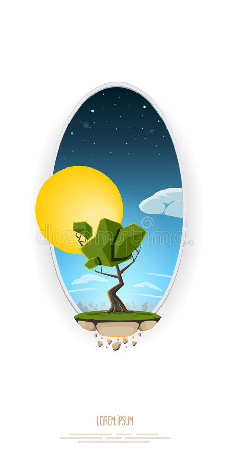 Vector abstract illustration tree, flying island land on background sky and sun. Template for logo, banner. stock illustration
