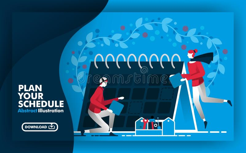 Vector abstract illustration .Web banner and poster in blue and dark blue. with title plan your schedule. people working around ca royalty free illustration