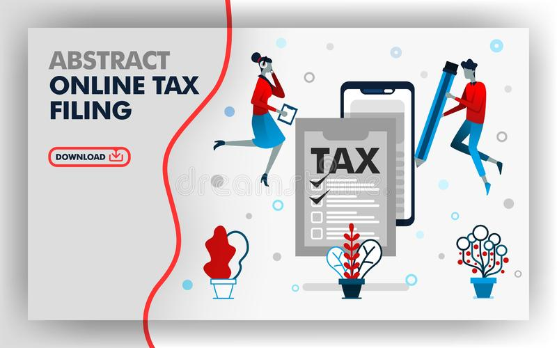 Vector abstract illustration .website banner design in white. themed online tax filing.  man holding a pencil to fill out tax form vector illustration