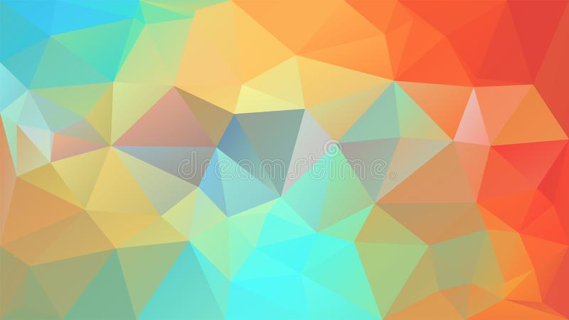 Vector irregular polygon background - triangle low poly pattern - fresh spring color - orange, cyan, blue, green, royalty free illustration