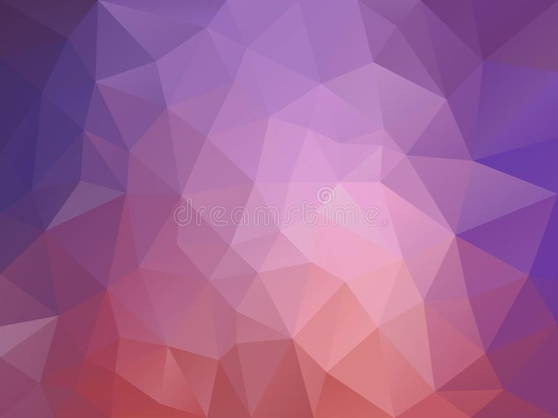 Vector polygon background with a triangle pattern in old pink and lavender purple gradient color royalty free illustration