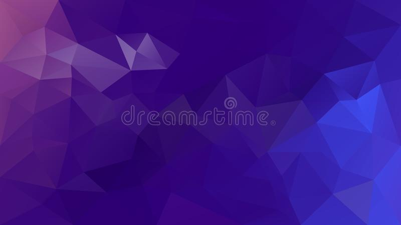 Vector irregular polygonal background - triangle low poly pattern - purple, orchid, violet and blue color gradient. Vector abstract irregular polygonal vector illustration