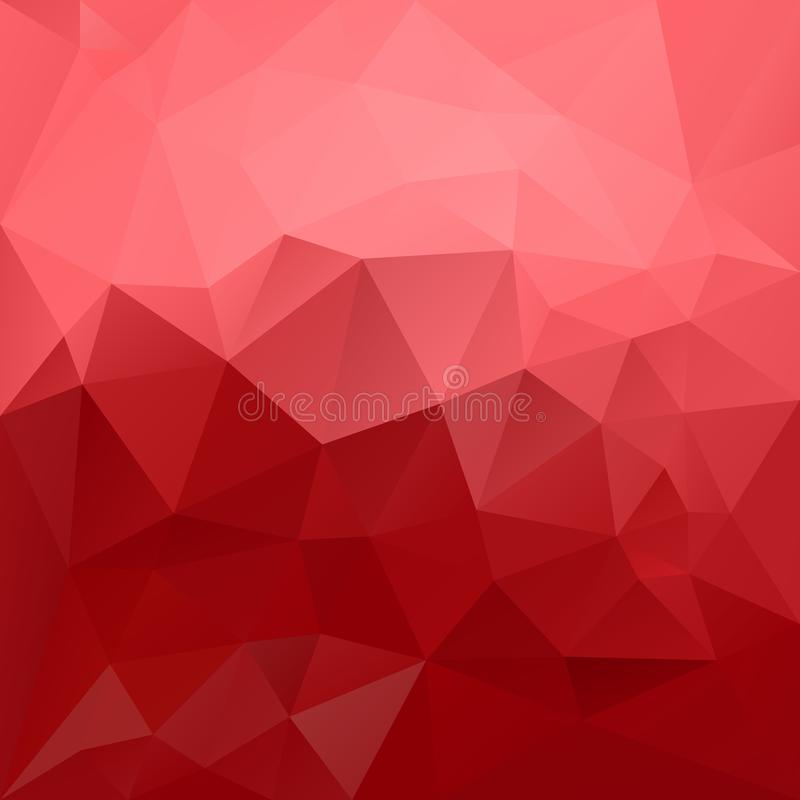 Vector irregular polygonal background - triangle low poly pattern - strawberry red and pastel pink color. Vector abstract irregular polygonal background vector illustration