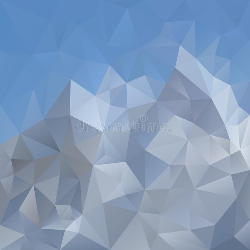 Vector irregular polygonal square background - triangle low poly pattern - light blue sky over gray mountain. Vector abstract irregular polygonal square vector illustration