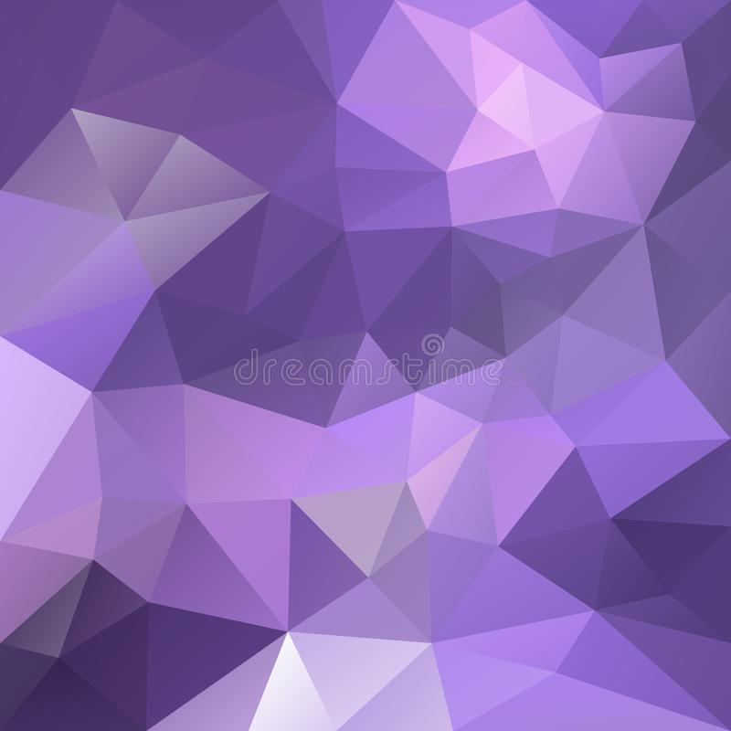 Vector irregular polygonal square background - triangle low poly pattern - light purple, ultra violet and lavender color stock illustration