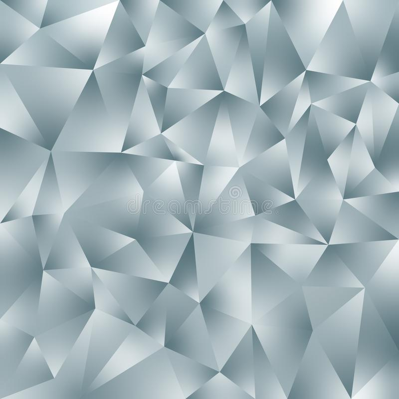 Vector irregular polygonal square background - triangle low poly pattern - light slate gray color with diamond shine vector illustration