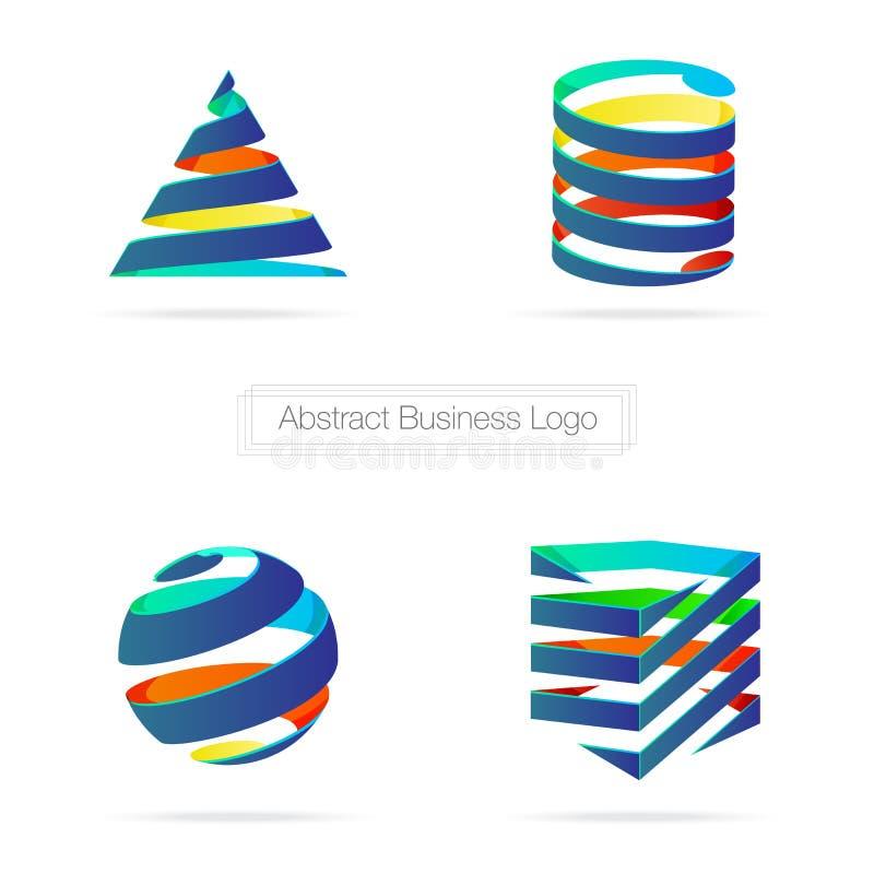 Vector: Abstract kleurrijk bedrijfslint 3D embleem, mede Technologie vector illustratie