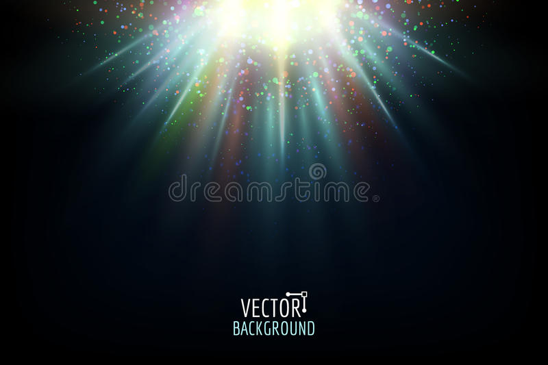 Vector abstract light. Bright glowing on dark background. stock illustration
