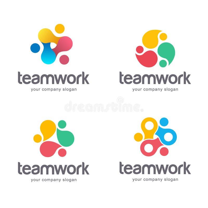 Vector abstract logo design. Teamwork, alliance. vector illustration