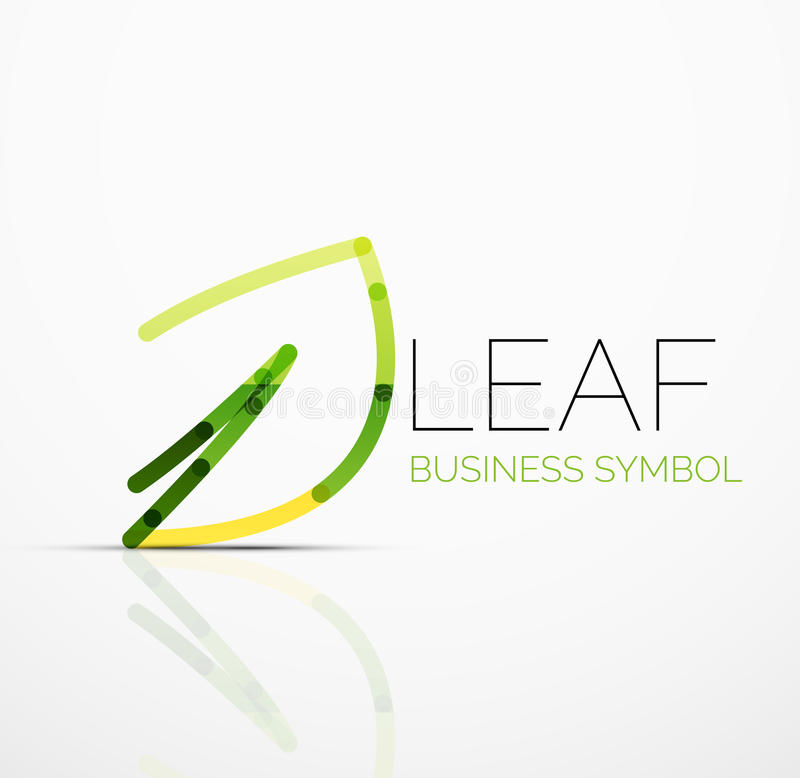 Vector abstract logo idea, eco leaf, nature plant, green concept business icon. Creative logotype design template. Made of overlapping multicolored line vector illustration