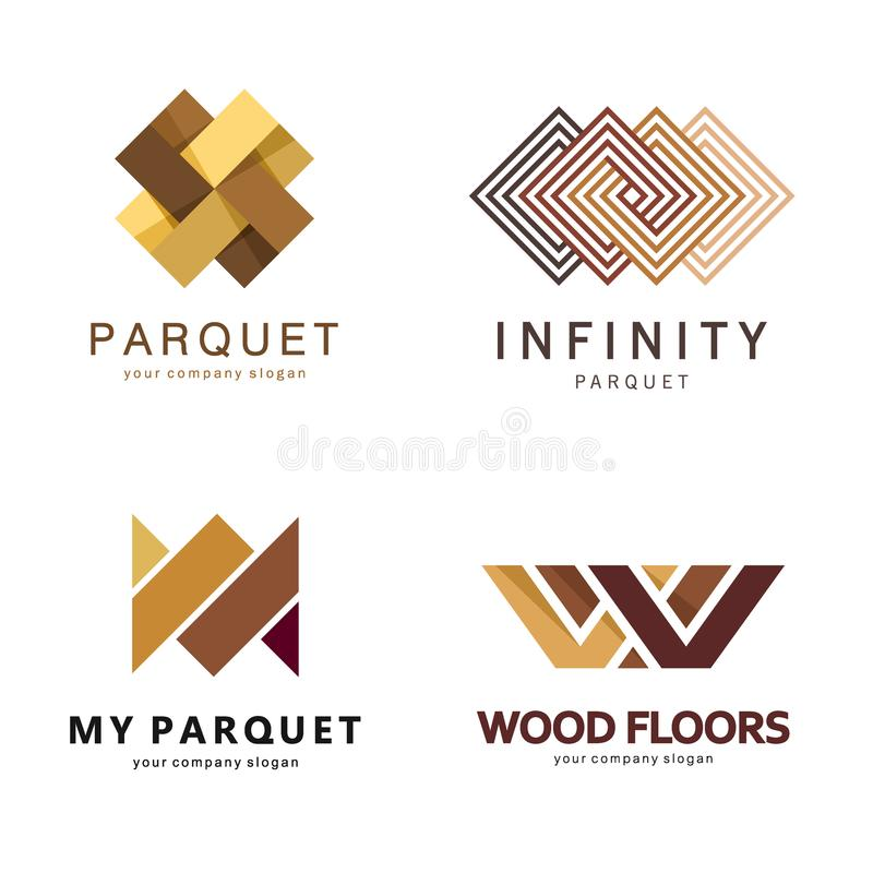 Vector abstract logo template. Logo design for parquet, laminate, flooring, tiles royalty free illustration