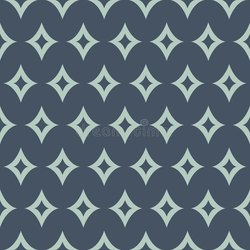 Vector Abstract Magical Rhombus in Green and Navy Blue seamless pattern background. stock illustration