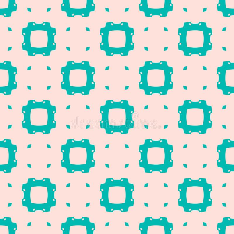 Vector abstract minimalist geometric seamless pattern. Turquoise and pink color. Vector minimalist geometric seamless pattern. Cute colorful abstract texture royalty free illustration