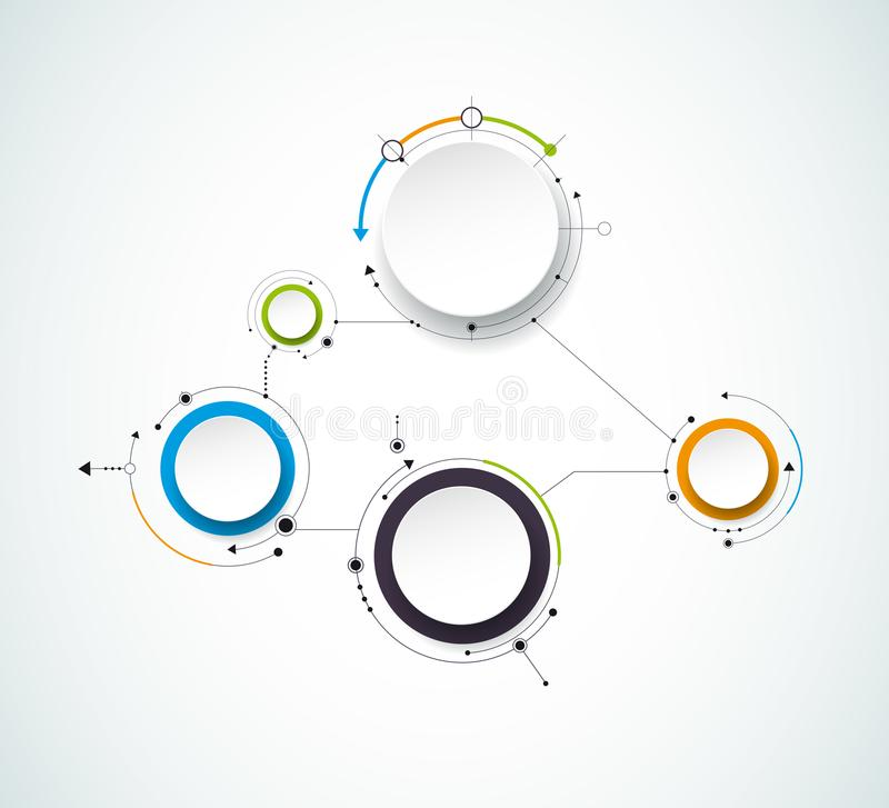 Vector abstract molecules with 3D paper label, integrated circles. Blank space for content. Business, infographic template, diagram, network, web design. Light stock illustration