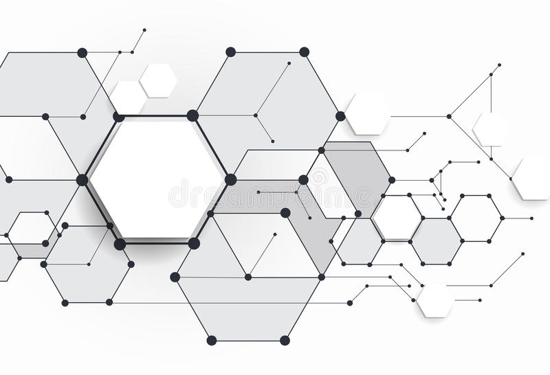Vector Abstract molecules with 3D paper polygon on light gray background. vector illustration