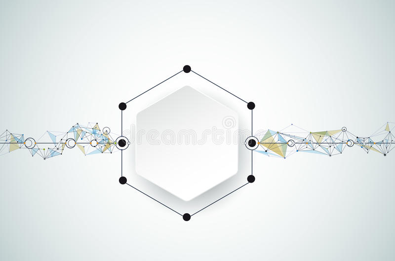 Vector Abstract molecules with 3D paper and Polygonal on light gray color background royalty free illustration