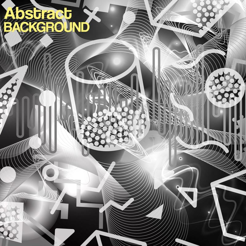 Vector Abstract Monochrome Patchwork Graphic Motif Brushed Textured Background. Black and white neon geometrical figures vector illustration
