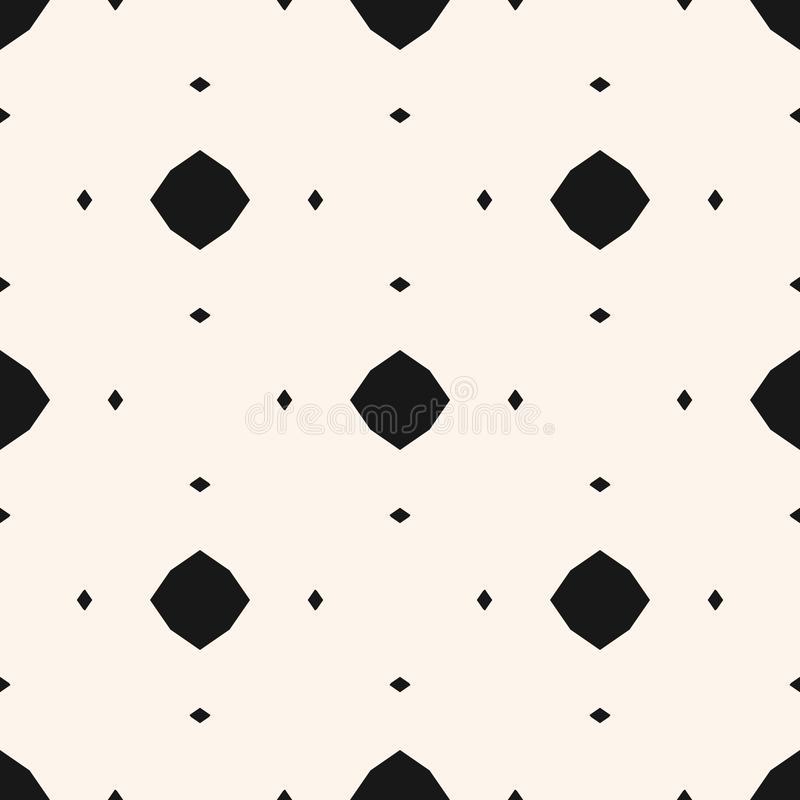 Simple ornamental background. Black and white geometric texture with small diamonds, octagons, rhombuses, dots. Vector abstract monochrome seamless pattern stock illustration