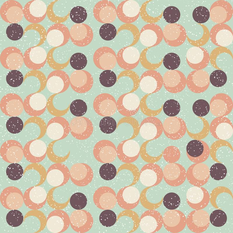 In vector abstract naadloos geometrisch patroon met cirkels in retro Skandinavische stijl Beige pastelkleurroze, marineblauw, royalty-vrije illustratie