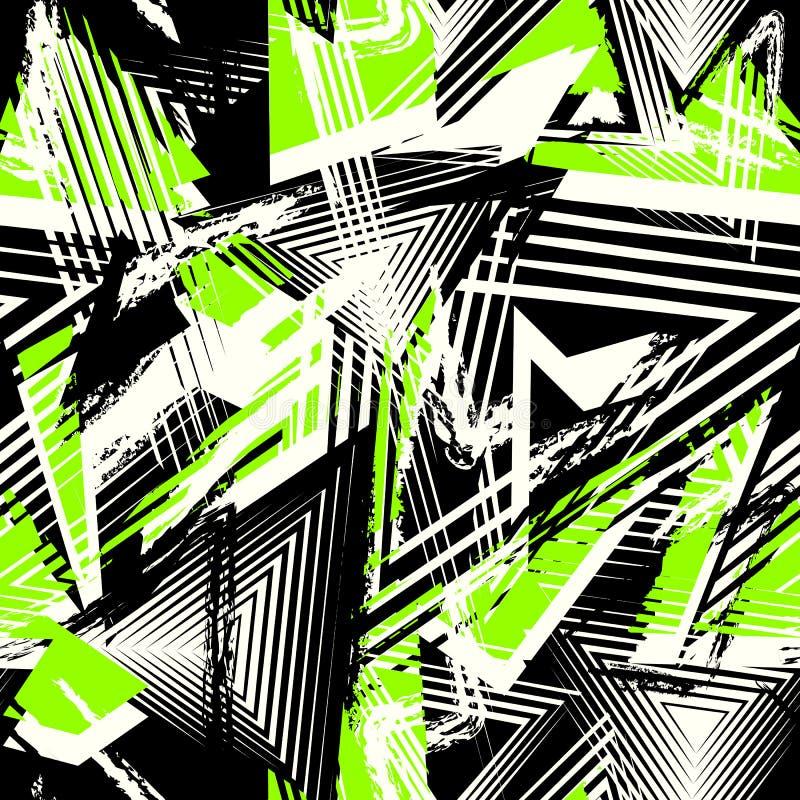 Vector Abstract Naadloos Geometrisch Patroon Moderne stedelijke kunst grunge textuur stock illustratie