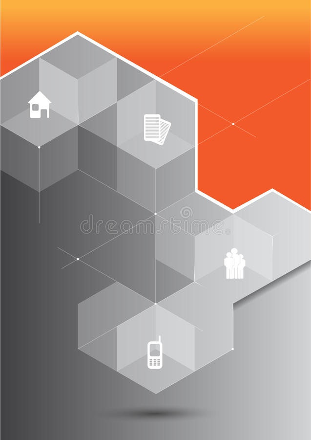 Vector abstract orange background with 3D cubes and corporate icons royalty free illustration