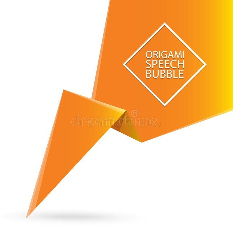 Abstract orange origami speech bubble or banner isolated on white background. Ribbon banner, scroll, price tag, sticker. Vector Abstract orange origami speech stock illustration