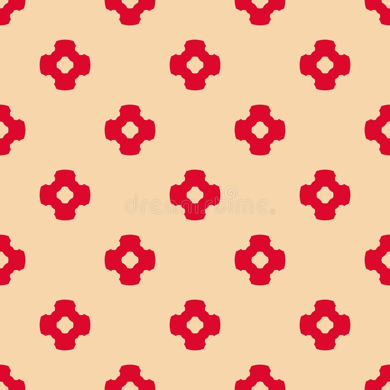 Vector abstract ornamental floral seamless pattern in red and tan colors stock illustration