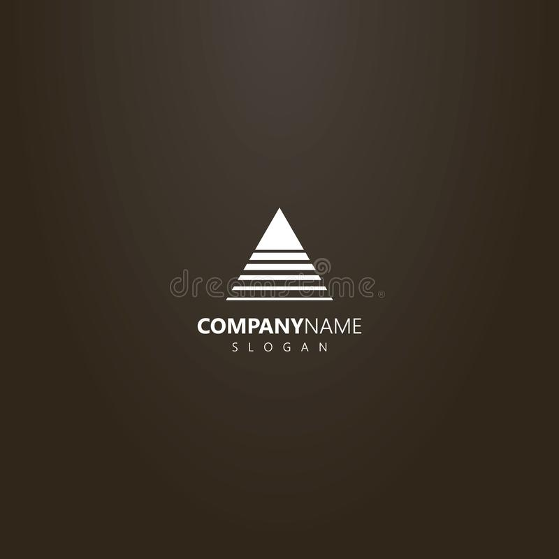 Vector abstract outline logo of a triangle crossed by lines of different widths. White logo on a black background. vector abstract outline logo of a triangle royalty free illustration