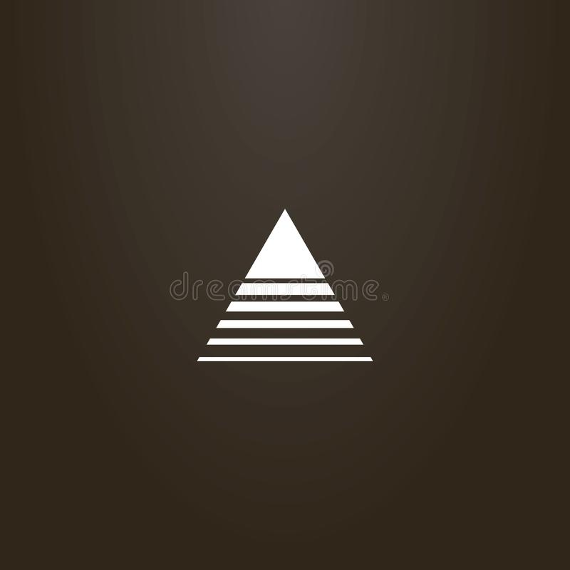 Vector abstract outline sign of a triangle crossed by lines of different widths. White sign on a black background. vector abstract outline sign of a triangle royalty free illustration