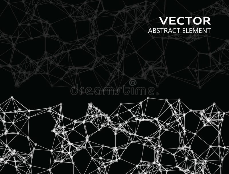 Vector abstract particles. On black background stock illustration