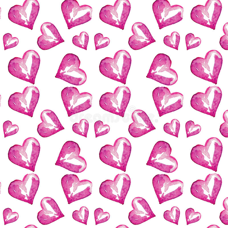 Vector abstract pattern of watercolor hearts, hand-drawn pattern, waves background. Pattern can be used for wallpaper, pattern fills, web page background royalty free illustration