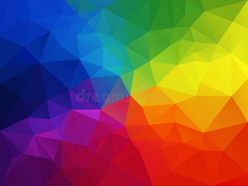Vector abstract polygon background with a triangle pattern in multi color - colorful rainbow spectrum royalty free illustration
