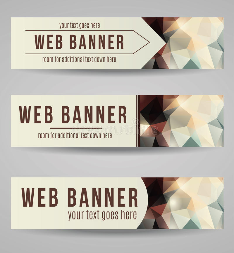 Vector abstract polygonal web banner set. Abstract styled polygonal web banner collection royalty free illustration