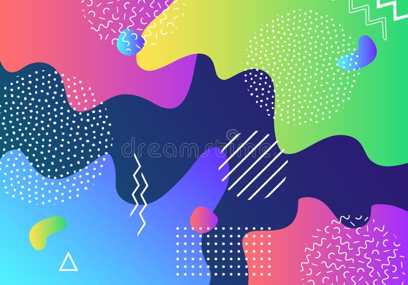 Vector abstract pop art pattern background with lines and dots. Modern liquid splashes of geometric shapes royalty free illustration