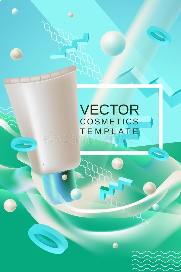 Vector abstract poster or banner cosmetics template in blue and green colors. Vector abstract background cosmetics template for banner or poster design in blue vector illustration