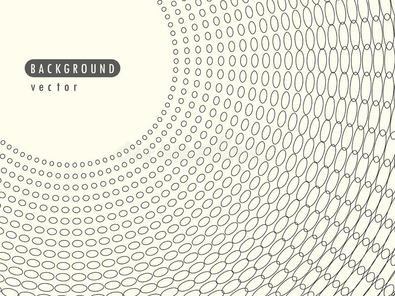 Vector abstract radial retro halftone dots. Element in the overlay banner. Black dots, circles on a light isolated background. royalty free illustration