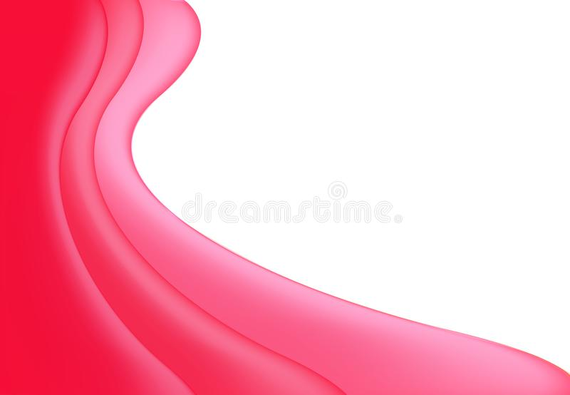 Vector abstract red pink wavy wave background, wallpaper. Brochure, design. on white background stock illustration