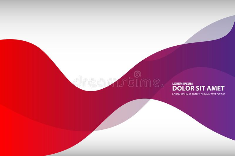Vector abstract red purple wavy waves background, wallpaper. Brochure, design. on white background stock illustration