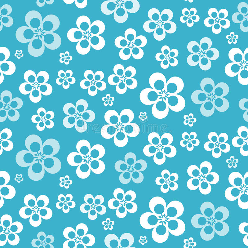 Vector Abstract Retro Naadloos Blauw Bloempatroon stock illustratie