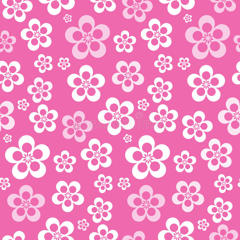Vector Abstract Retro Naadloos Roze Bloempatroon royalty-vrije illustratie