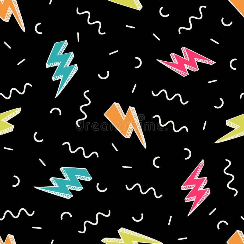 Vector abstract retro patroon met bliksembouten en geometrische elementen stock illustratie
