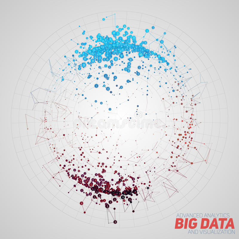 Vector abstract round big data visualization. Futuristic infographics design. Visual information complexity. Intricate vector illustration