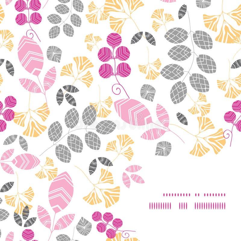 Vector abstract roze, geel en grijs bladerenkader royalty-vrije illustratie