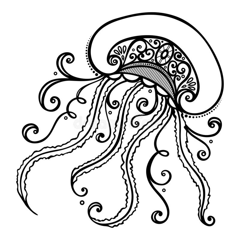 Free Vector Abstract Sea Jellyfish Stock Images - 45552194