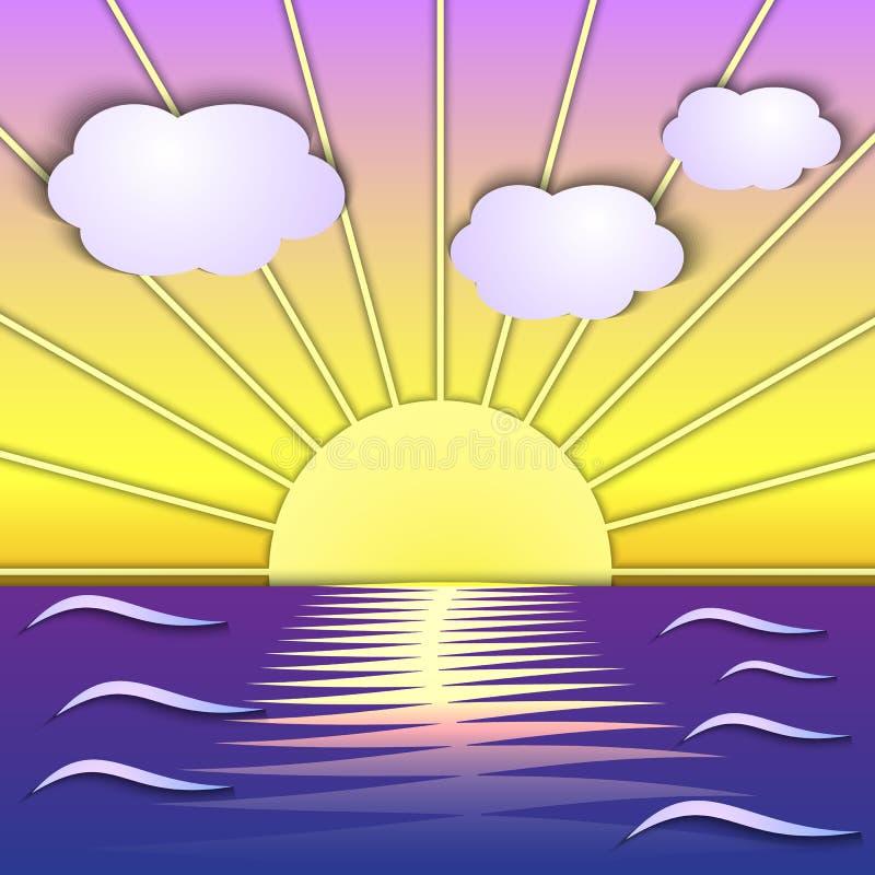 Download Vector Abstract Sea Sunrise Scene Stock Vector - Image: 36400154