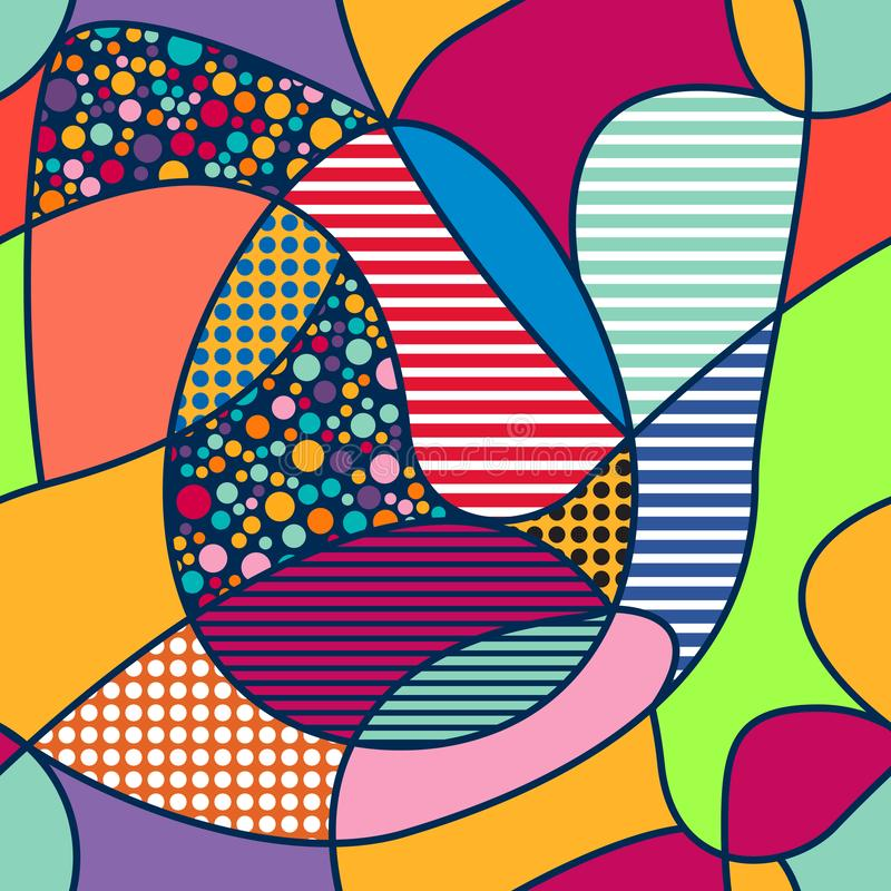 Vector abstract seamles pattern in pop art style. Modern easter background with eggs.  royalty free illustration
