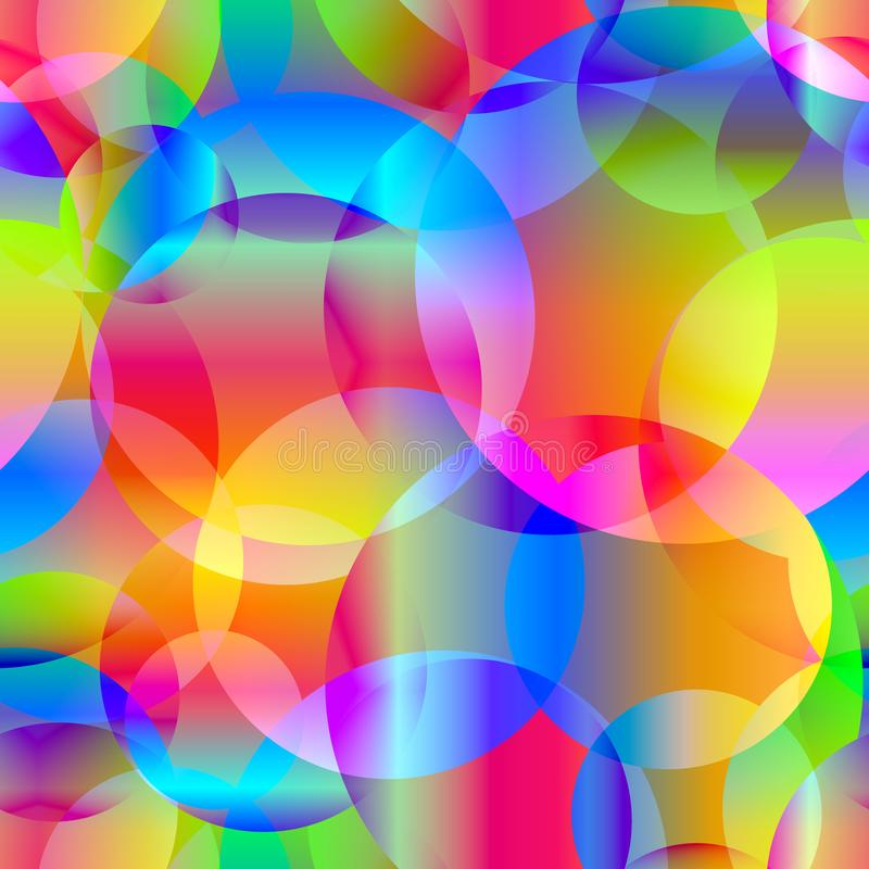 Vector abstract seamless background of rainbow circles and bubbles for fabric or gift accessories on a shiny background. royalty free illustration